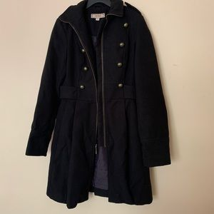 Decree Black zip-up fall/winter trench coat